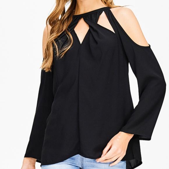 2bd3c9d6ab134 NEW black cut out twist knot cold shoulder blouse